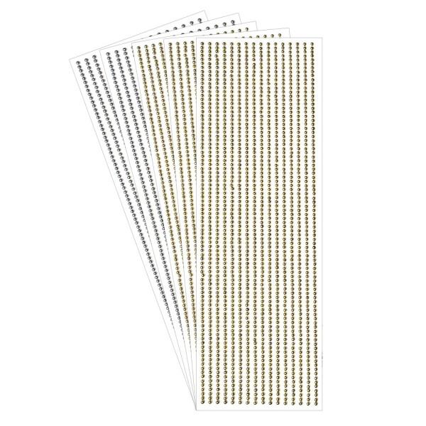 Halbperlen-Bordüren, selbstklebend, Ø3mm, metallic-gold & metallic-silber, 5 Bogen