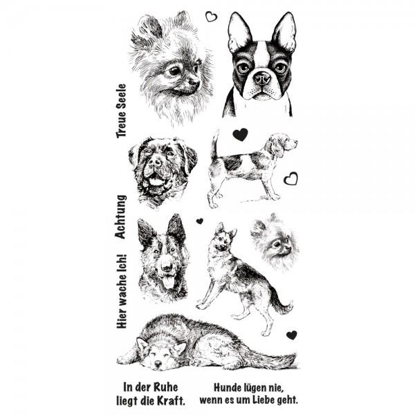 Feinkontur-Stempel, einzelne Motive auf Trägerfolie, Hunde