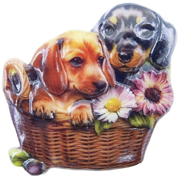 Wachsornament Hunde 1, farbig, geprägt, 7cm