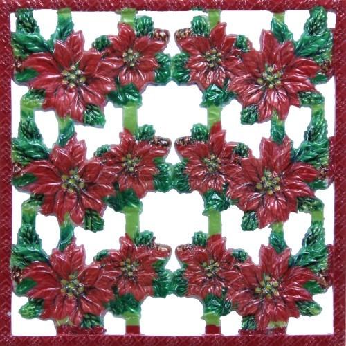 Wachsornament-Platte Weihnachtsstern, farbig, geprägt, 10x10cm