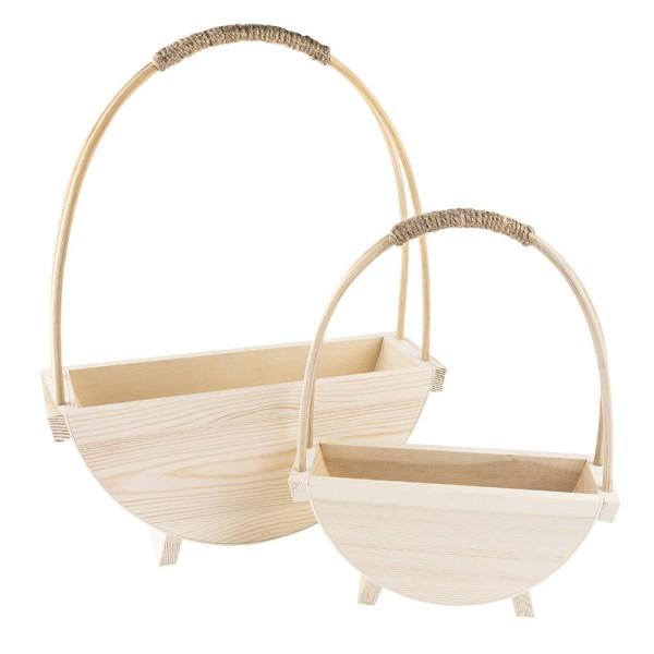 Deko-Körbe aus Holz, verschiedene Größen, 2 Stück
