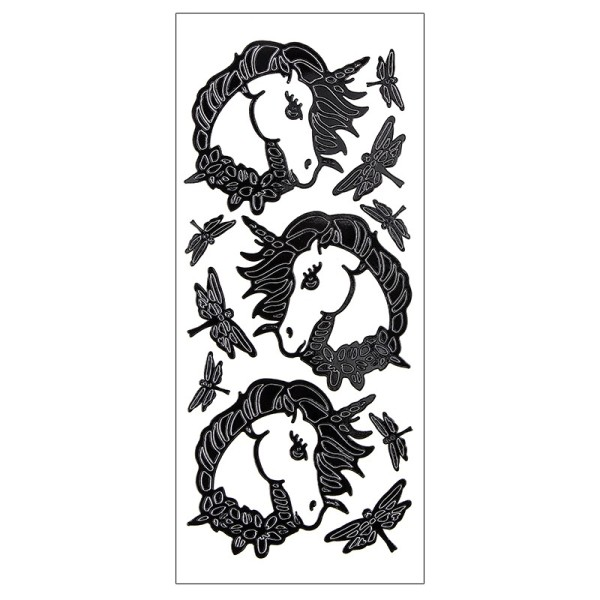 Sticker, Einhörner & Libellen, Lackfolie, schwarz