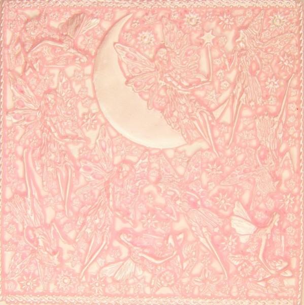 Wachsornament-Platte Elfen, 16 x 16 cm, rosa patiniert