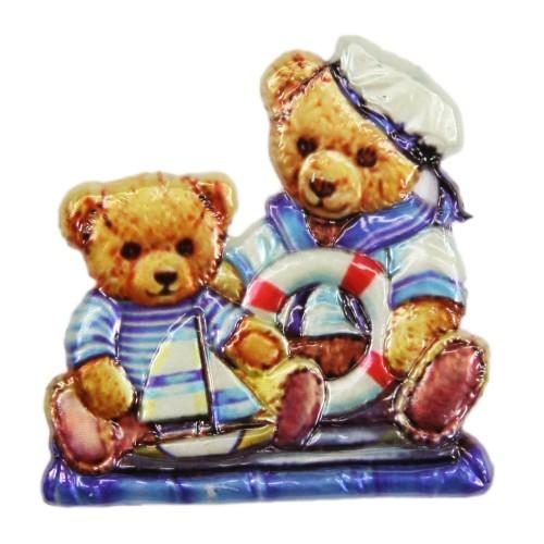 Wachsornament, Seemann-Teddys, farbig, geprägt, 7x7 cm