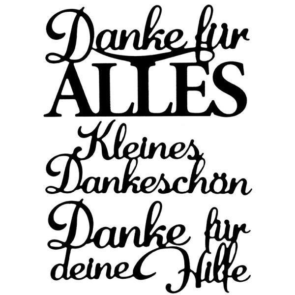 Stanzschablonen, Schriften, Danke 3, 3 Stück