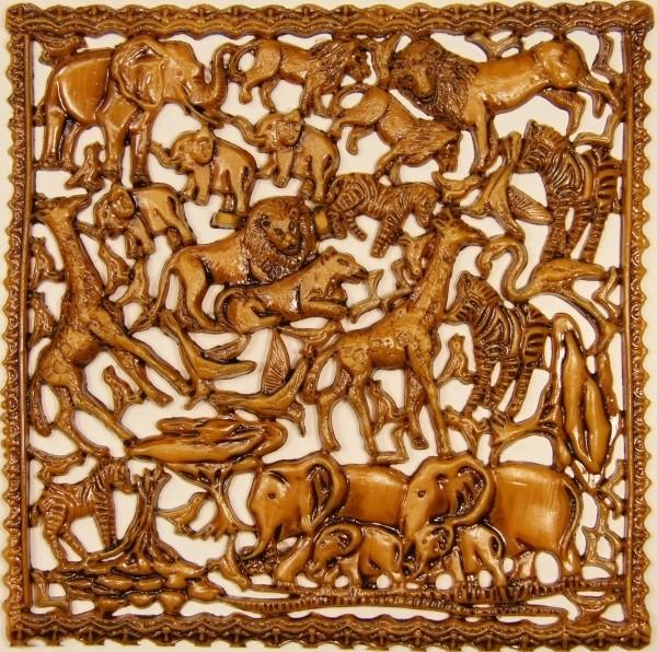Wachsornament-Platte Afrika, 16 x 16 cm, ocker patiniert