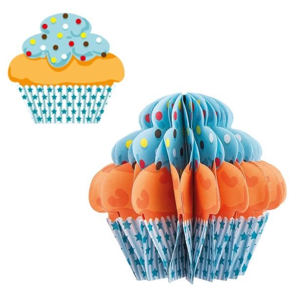 Waben-Stanzteile, Cupcake 4, beige/türkis, 8,2cm x 7,7cm, 100 Stück