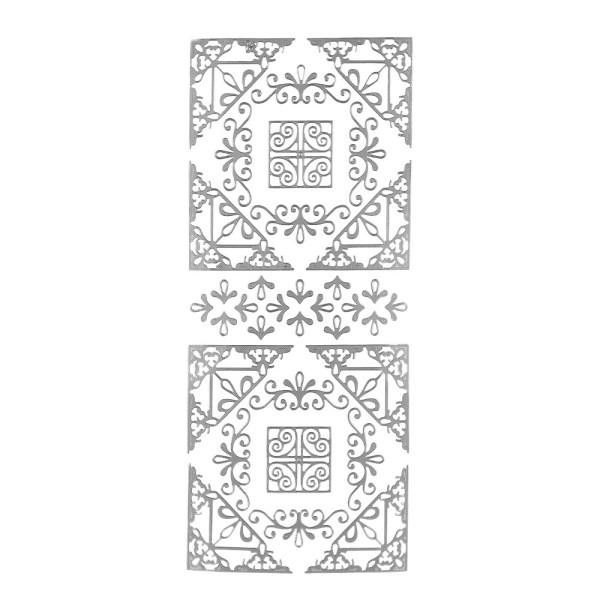 Sticker, Ecken, Ornamente,  silber