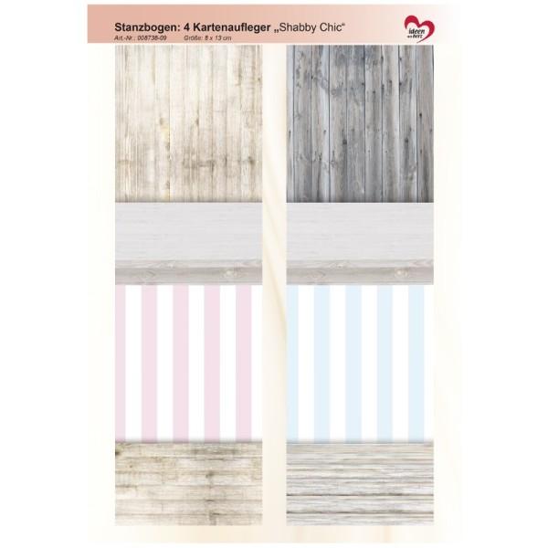 """Stanzbogen, 4 Kartenaufleger """"Shabby Chic"""", DIN A4, Design 9"""