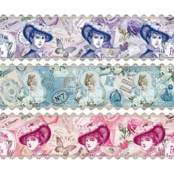 """Zauberfolien """"Vintage Damen"""", Schrumpffolie für Ø6cm, 5,5cm hoch, 6 Stück"""