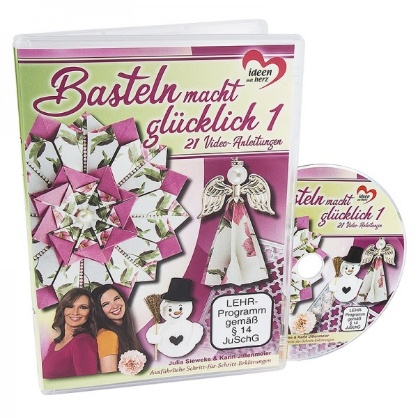 DVD Basteln macht glücklich 1, Julia Sieweke & Karin Jittenmeier, 21 Video-Anleitungen, 74 min.