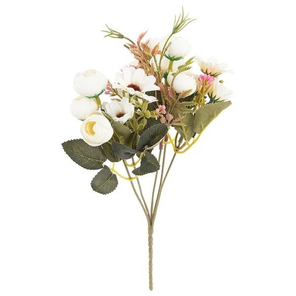 Blütenbusch, Rosen & Margeriten, 28cm hoch, 15 große Blüten Ø 2,5cm, weiß