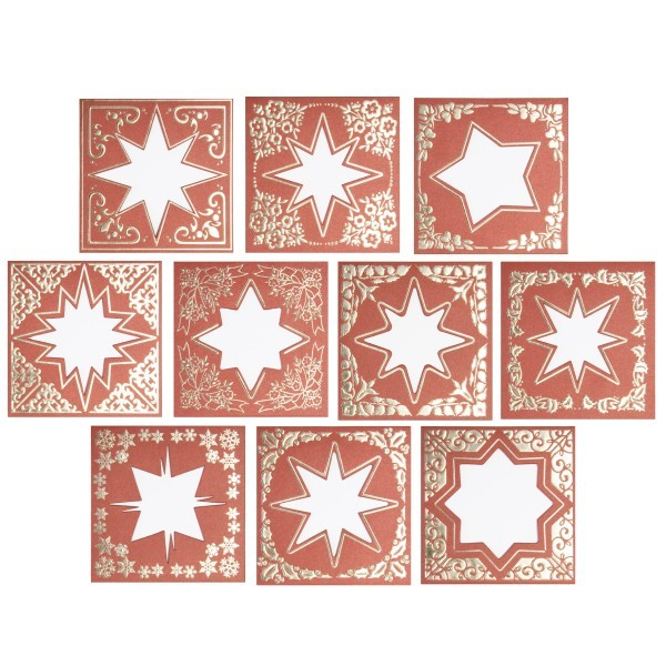 Zier-Doppelgrußkarten, folienveredelt, 12x12 cm + Umschläge, 10 Stück