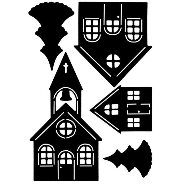 Stanzschablonen, Dorf mit Kirche, 5 Stück