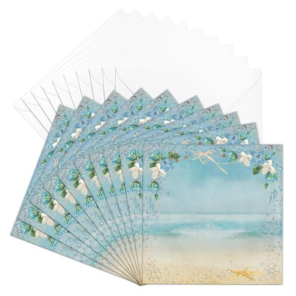 Motiv-Grußkarten, Maritim, 16cm x 16cm, 230 g/m³, inkl. weißen Umschlägen, 10 Stück