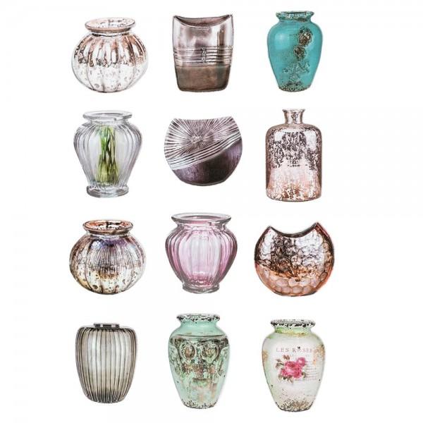 3-D Relief-Sticker, Blumen & Vasen 5, verschiedene Größen, selbstklebend