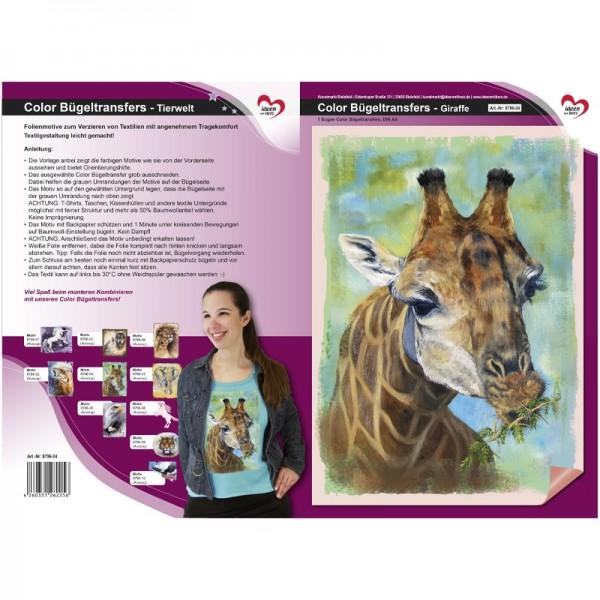 Color Bügeltransfers, DIN A4, Tierwelt, Giraffe