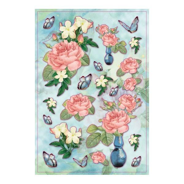 3-D Stickerbogen, Blumenvasen, 12,5 x 18,5 cm