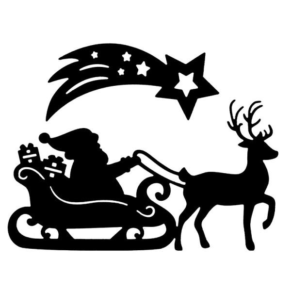 Stanzschablonen, Weihnachtsmann mit Schlitten, 2 Stück