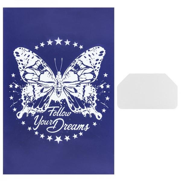 Siebdruckschablone Schmetterling, 32,5cm x 22,5cm, selbstklebend, inkl. Rakel