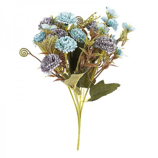 Blütenbusch, Mini-Hortensien, 28cm hoch, 10 große Blüten Ø 3cm, Blautöne