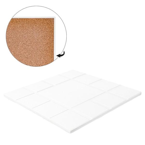 Keramik-Fliese, eckig mit 13 Quadraten, 20cm x 20cm, weiß, unbehandelt