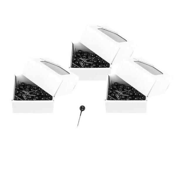 Perlkopfnadeln, schwarz, 300 Stück
