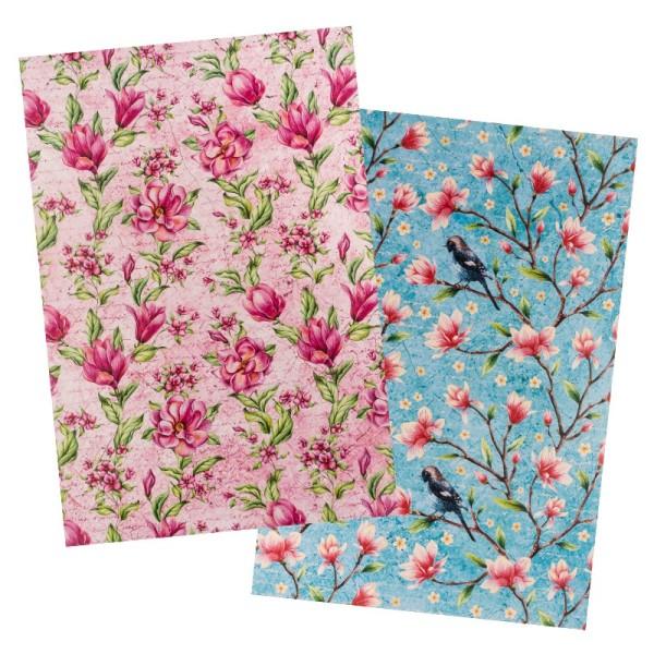Reispapiere, Blüten 22, DIN A4, 30g/m², 2 verschiedene Designs