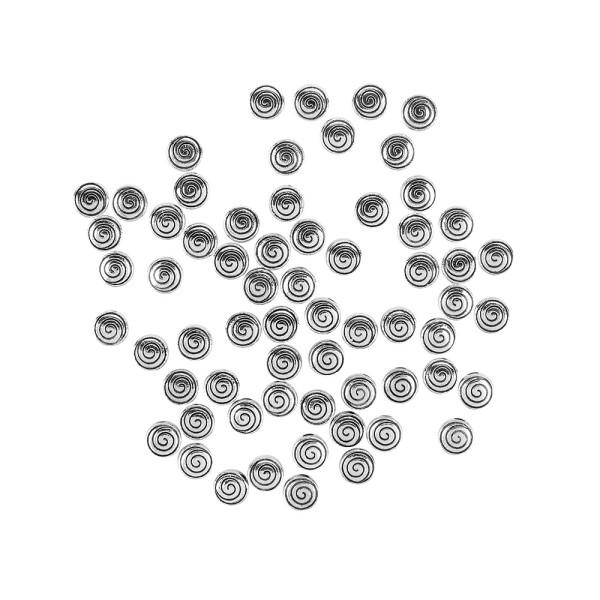Perlen, mit Spiral-Relief, Ø 6mm, silber, 60 Stück