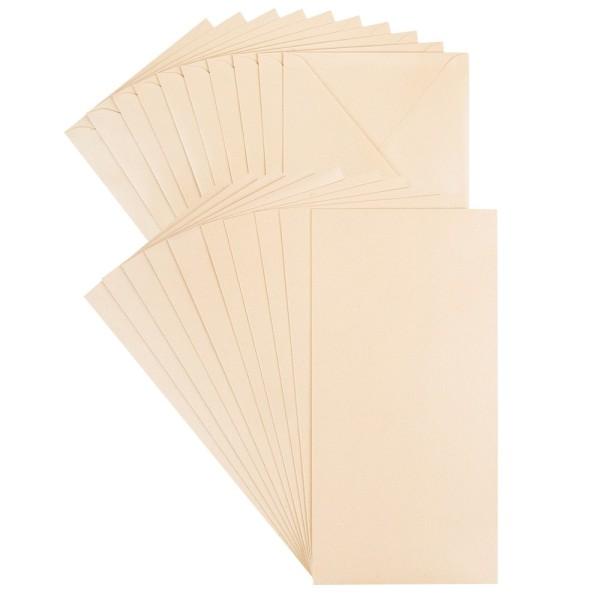 Grußkarten, Perlmutt, 10,5cm x 21cm, 250 g/m², creme, inkl. Umschläge, 10 Stück