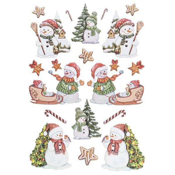 3-D Relief-Sticker, Schneemänner 2, versch. Größen, selbstklebend