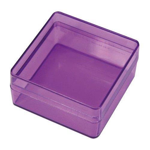 Acryl-Viereck-Dosen, 5,9 x 5,9 x 3 cm, 2 Stück, violett