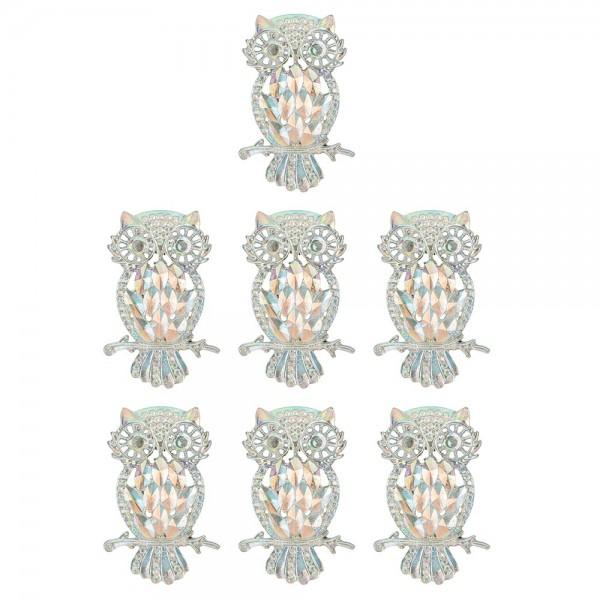 Schmucksteine, Eule, 3,4cm x 4,8cm, klar, irisierend, silberne Rückseite, 7 Stück