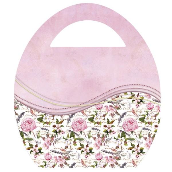 """Deko-Bild """"Ei-Tasche mit Schwung"""", mit Griff, 20x23cm, rosa, 2 Stück"""