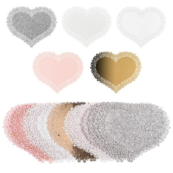 Laser-Kartenaufleger, Zierdeckchen, Herz 1, 14cm x 11,8cm, 220 g/m², 5 Farbtöne, 20 Stück