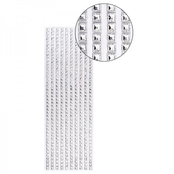 Schmuckstein-Bordüren, selbstklebend, facettiert, irisierend, Quadrate 6 x 6 mm, 29 cm, silber