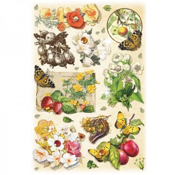 3-D Stickerbogen, Vintage-Blumen 3, 12,7 x 18,8 cm