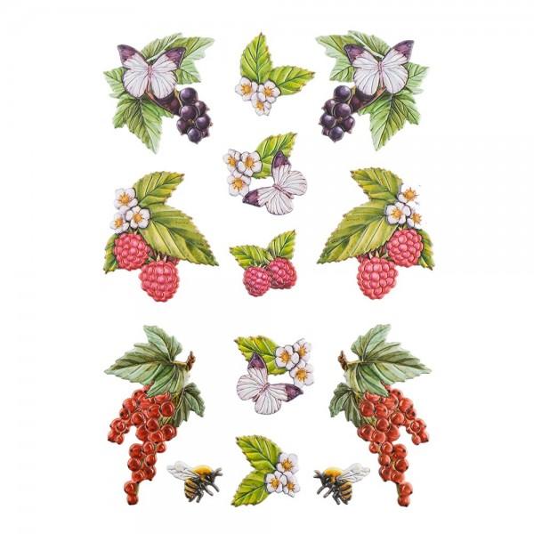 3-D Relief-Sticker, Beerenvielfalt 1, verschiedene Größen, selbstklebend