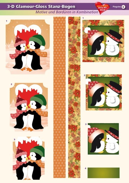 3-D GlamourGloss Bogen, Pinguine, DIN A4, Motiv 8