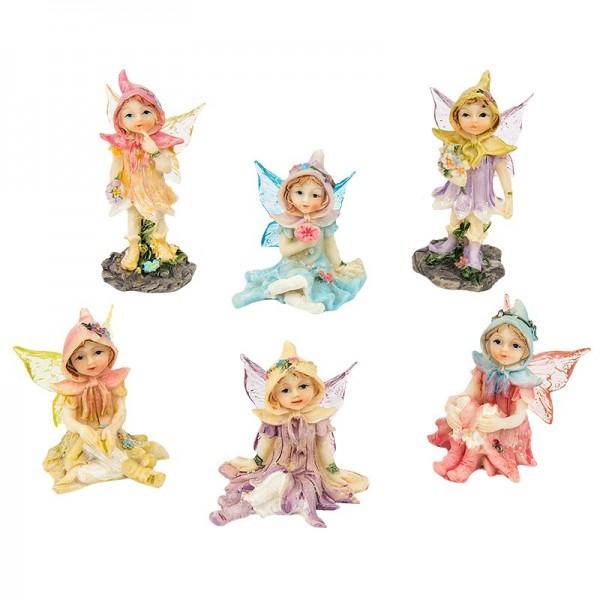 Elfen-Figuren, ,sitzend & stehend, farbig, 6 Stück