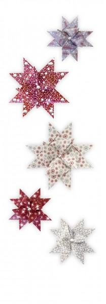 """Fröbelsterne """"Christmas"""", dunkelrot/grau/natur, 60 Faltstreifen"""