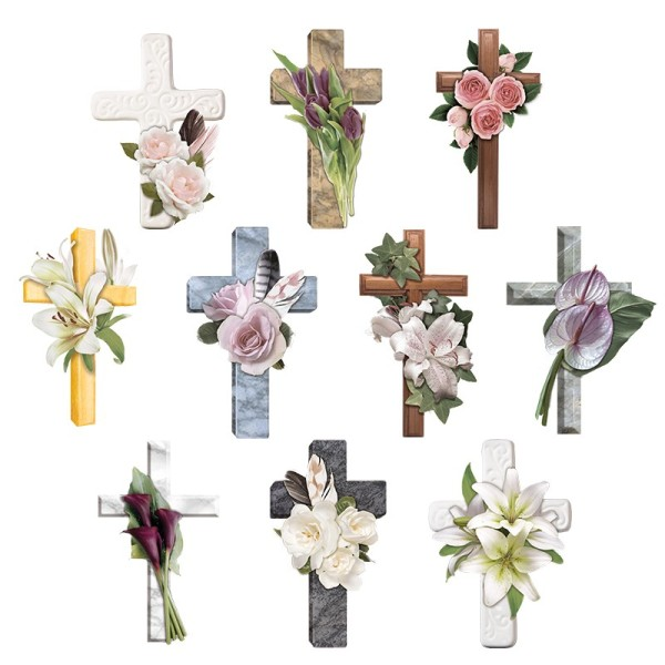 3-D Motive, Kondolenz-Kreuze, 6,5-11cm, 10 Motive