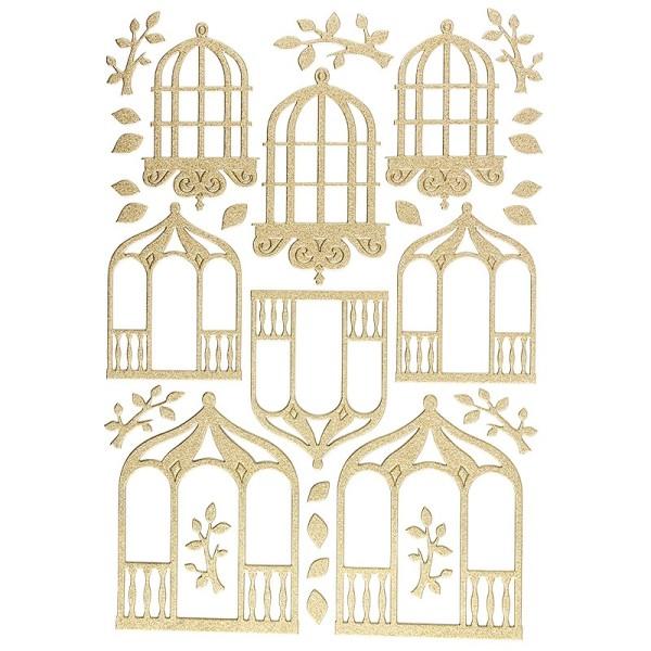 """3-D Sticker """"Deluxe Pavillons"""", verschiedene Größen, selbstklebend, gold"""