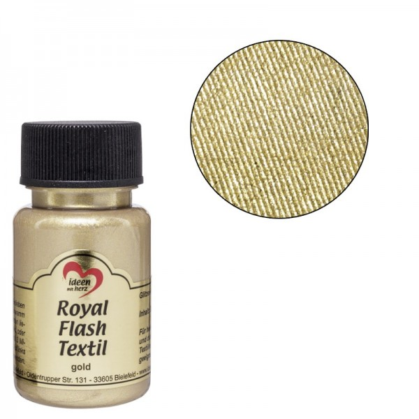Royal Flash Textil, Glitzer-Metallic-Farbe, 50 ml, gold