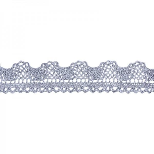 Häkelspitze Design 8, 2,1cm breit, 2m lang, blaugrau