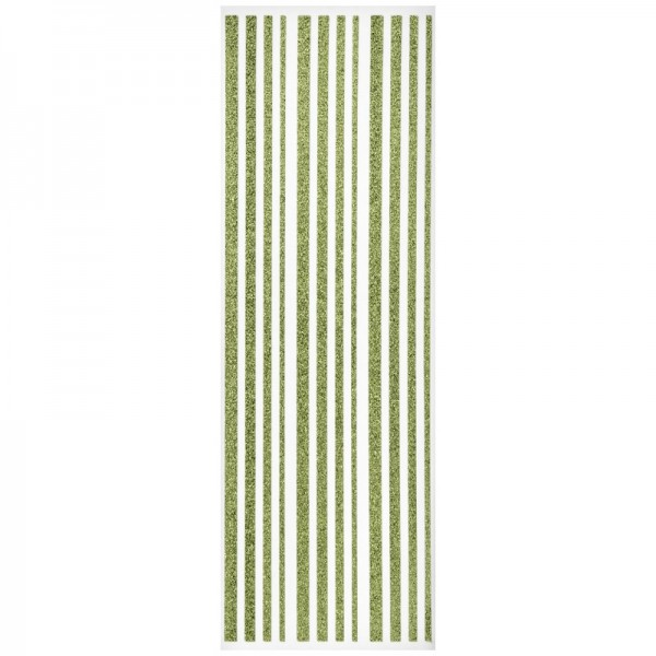 Glitzer-Bordüren, Sticker-Linien, 30 cm lang, 3-6 mm, lindgrün