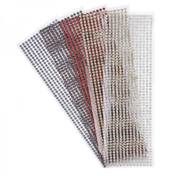 Schmuckstein-Bordüren, Hexagon, metallic, facettiert, selbstklebend, 29 cm, 5 Bogen