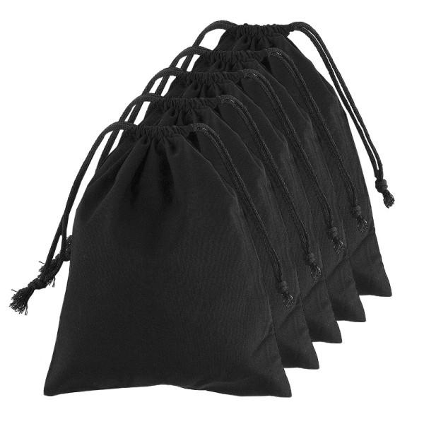 Baumwoll-Zuziehbeutel, 25x30cm, schwarz, 5 Stück