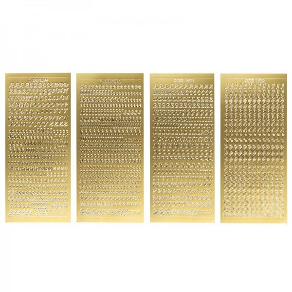 Stickerbogen, Buchstaben & Zahlen, gold, 4 Bogen