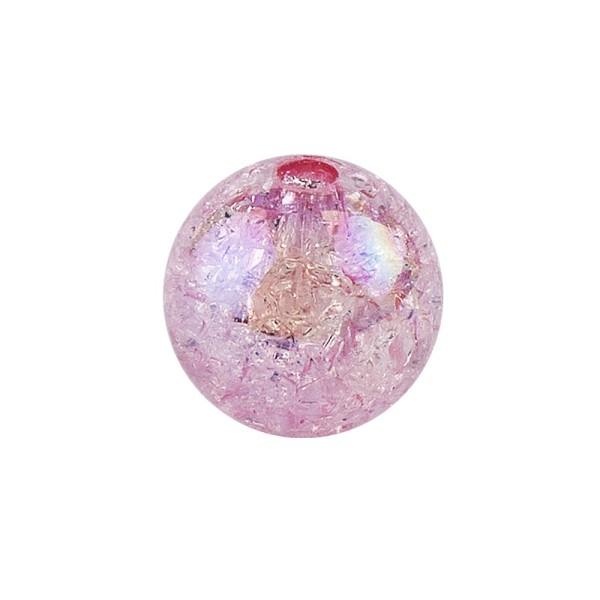 Perlen, Crackle, Ø 8mm, rosa-irisierend, 100 Stk.